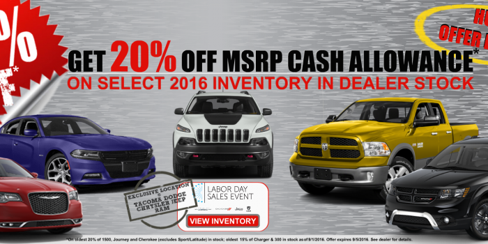 20% off MSRP during Labor Day Sale Event